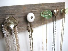 Resourceful Girl DIY Jewelry Storage. I wouldn't mind trying this for a bathroom towel rack too.