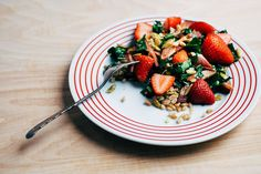 A Better Way to Put Strawberries into Salad (It Involves Bacon) on Food52 Farro, Kale, and Strawberry Salad with Bacon and Chili-Dusted Pepitas