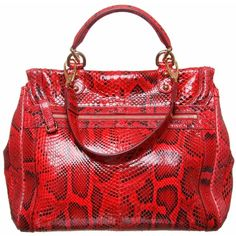 Dolce & Gabbana Red Snakeskin Handbag ($3,030) ❤ liked on Polyvore