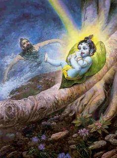 Krishna sucking his toe, lying on a banyan leaf. (My mom has an old b photo of me in the same pose! Krishna Art, Radhe Krishna, Baby Krishna, Mythological Characters, Sri Rama, Vedic Astrology, Lord Vishnu, Hindu Art, Buddhism