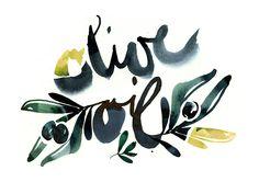 """Handletttering """"Olive Oil"""" by Ekaterina Koroleva, via Behance"""