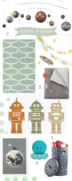 FOUND IT! Finally a place to start with nursery design and registry!! :)  [Robots in Space Themed Nursery // by Chachi Loves Design, Los Angeles // for sources visit: http://chachilovesdesign.tumblr.com/]