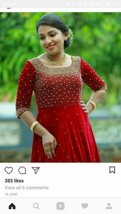 Red gown Wedding Saree Blouse Designs, Saree Blouse Neck Designs, Kurti Neck Designs, Dress Neck Designs, Kurti Designs Party Wear, Saree Embroidery Design, Hand Embroidery Dress, Embroidery Tools, Gown Party Wear