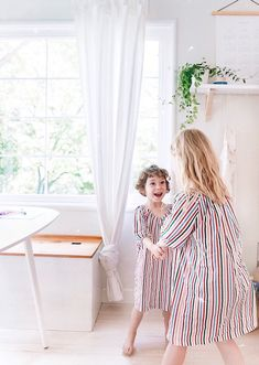 Matching Sister Nightgowns. Girl's Colorful Striped Nightgown. Available in Sizes 2T-3T, 4-5, 6-7 and 8-9. Both Long Sleeve and Short Sleeve. 100% Soft Cotton Nightgown for Toddlers and Kids. Perfect for Homeschool days when Kids want to stay in their pajamas all day!