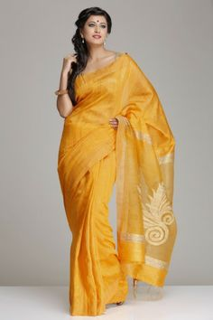 Vibrant Mustard Yellow Matka Silk Saree With Golden Abstract Leaf Motif On The Ghicha Jamdani Pallu