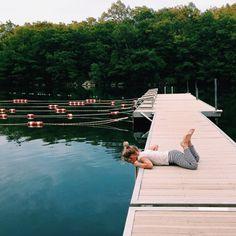 Swimming lanes at the lake.