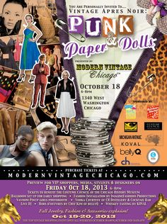 The deets for the October 18th Fashion Show - Vintage Apres Noir: Punk & Paper Dolls > get your discounted tix > www.modernvintagechicago.com