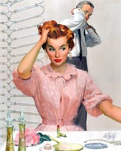Married morning rituals ~ 1950s illustration by Al Buell.