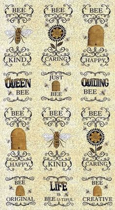 Moda Fabric Quilt Panel Bee Creative Deb Strain Honey X Bee Quotes, Buzz Bee, Bee Creative, I Love Bees, Bee Skep, Bee Cards, Bee Theme, Save The Bees, Bee Happy