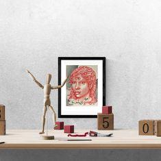 third eye chakra angel digital download, mindfulness gift idea, occult wall art, illuminati angel, red artist sketch, crimson charcoal art Charcoal Art, Third Eye Chakra, Frame It, Hanging Art, Illuminati, Occult, Printable Wall Art, Art For Sale, Pencil Drawings