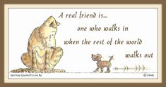 Real friend quote on illustration of two dogs by Sandra Reeves.