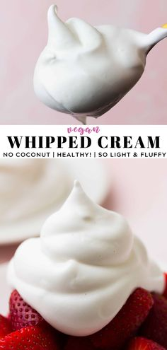 EASY Vegan Whipped Cream with no coconut! This light and fluffy whipped topping is healthy too! #vegan #glutenfree #plantbased Vegan Dessert Recipes, Dairy Free Recipes, Whole Food Recipes, Nutella Recipes, Dairy Free Deserts, Non Dairy Desserts, Cookie Recipes, Healthy Recipes, Vegan Whipped Cream