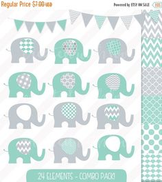 Elephant Clip Art Combo Pack - Baby Elephant - Purple & Grey - Digital Papers - Bunting and Flags - Commercial Use by igivelove on Etsy Blog Design, Web Design, Baby Name Banners, Make Your Own Invitations, Paper Bunting, Elephant Illustration, Baby Shower Invitaciones, Grey Elephant, Crisp Image