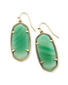 Shop drop earrings in unique green agate stones. Classic Kendra Scott styles inspired by our home decor collection.