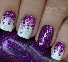 Half Moon Purple Glitter with Matte White Nail Art Design.