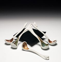 """Marion Angelica     Serving Spoons (.5 x 1 x 6.5""""), porcelain, fired to ^10 reduction."""
