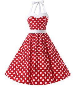 Dresstells® Halter 50s Rockabilly Polka Dots Audrey Dress Retro Cocktail Dress: Amazon.de: Bekleidung