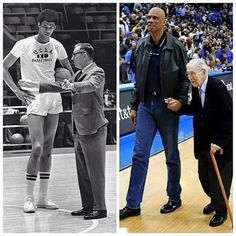 Never Forget Those Who Showed You The Way! Lew Alcindor/Kareem Abdul-Jabbar With Former UCLA Basketball Coach John Wooden. The relationships formed from basketball last forever. Ucla Basketball, Basketball Legends, Basketball Workouts, Basketball Players, Basketball Stuff, Basketball Funny, Nba Players, Dodgers, Coach Wooden