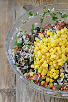 Southwestern Tuna with Rice, Corn and Black Beans is the perfect summer dinner: healthy, refreshing, gluten and dairy-free. A family meal for under $15.