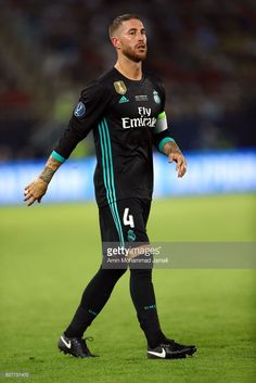 Sergio Ramos of Real Madrid looks on during Super UEFA super Cup match between Real Madrid and Manchester United on August 8, 2017 in Skopje, Macedonia.