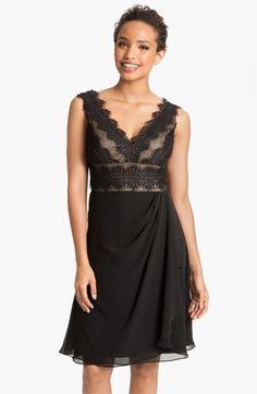 JS Collections Lace and Chiffon Sheath Dress