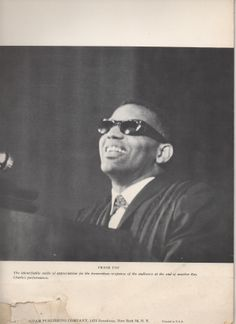 Ray Charles in concert, poss. at one of the October 1961 shows in Paris; if so, then photo by J.P. Leloir. From the 'white' 1962 souvenir program (coll. T. Sunseri).