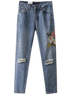 Shop Blue Flower Embroidery Ripped Detail Denim Pants online. SheIn offers Blue Flower Embroidery Ripped Detail Denim Pants & more to fit your fashionable needs.
