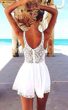 street style / white lace playsuit