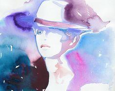 Portret van de mode afdrukken van aquarel door silverridgestudio