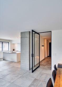modern glass pivot door offset axis