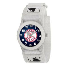 BOSTON RED SOX ROOKIE ROOKIE MLB youth / ladies white watch Adjustable Velcro by Sweet Emilys. $24.95. BOSTON RED SOX ROOKIE WHITE YOUTH WATCH BY GAMETIME   Features * OFFICIAL TEAM LOGO ON DIAL  * Stainless Steel Back  * Adjustable Velcro® Strap Designed for Ladies and younger fans   Maximum wrist size: 6''  * Quartz Accuracy  * Shock Resistant/Water Resistant  * Limited Lifetime Warranty