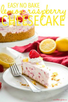 This Easy No Bake Lemon Raspberry Cheesecake is the perfect easy-to-make cheesecake that's ultra creamy Lemon Raspberry Cheesecake, Fruit Cheesecake, Raspberry Desserts, Cheesecake Recipes, Citrus Recipes, Orange Recipes, Spring Recipes, Easy Ice Cream Recipe, Ice Cream Recipes