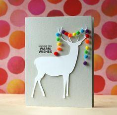 Sending you warm wishes! Cute reindeer card by Laura Bassen.