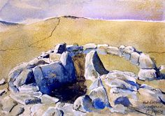 Dartmoor hut circle at Grimspound by CPascoeWatercolours on Etsy