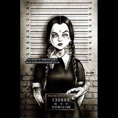 Wednesday Addams Mug Shot Cartoon | by Marcus Jones