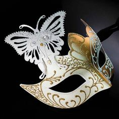 Masquerade Mask, Masquerade Mask, Butterfly Mask, Gold/White Mask, Wedding Masquerade Mask, Mardi Gr Mens Masquerade Mask, Masquerade Party, Steampunk Gears, Steampunk Costume, Vincent Van Gogh, Brazilian Carnival Costumes, Butterfly Mask, Traditional Japanese Tattoos, Steampunk Accessories