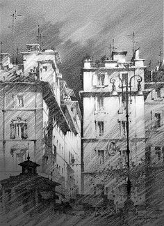 Landscape Sketch, Landscape Drawings, Watercolor Landscape, Watercolor Paintings, Art Drawings, Landscapes, Pencil Drawings, Architecture Drawing Art, Architecture Sketchbook
