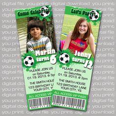 Soccer Theme Birthday Party Ticket Invitation  by CustomBazaar, $10.95