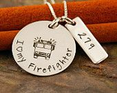 Hand Stamped Jewelry - Sterling Silver Personalized Custom Necklace- I love my Firefighter (firefighter wife necklace)