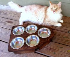 Raised Pet Feeder   Elevated Cat Feeder  Cat by WoodyToolWorks