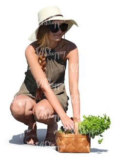 77495caa924 A woman with a herbs basket squatting Cut Out People