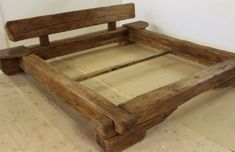 Old wood furniture has character. This bed of old wood beams (age approx. 300 years) with an appeali Bed Frame Design, Diy Bed Frame, Bed Design, Pallet Furniture, Furniture Plans, Rustic Furniture, Woodworking Bed, Woodworking Projects Plans, Diy Bett