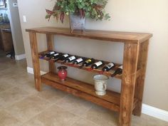 Reclaimed Barn Wood Wine Rack Table