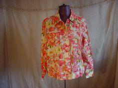 Breckenridge Jacket  Blouse Top 1X Button Down Shirt Floral Butterfly Sequins #Breckenridge #ButtonDownShirt #Casual