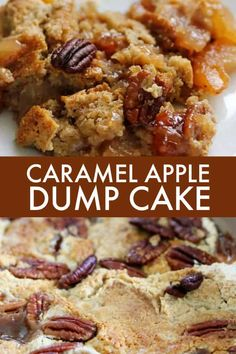 Caramel Apple Dump Cake - A simple fall dump cake recipe made with butter pecan cake mix and apple pie filling!