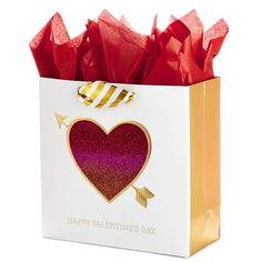 Hallmark Signature Large Valentine's Day Gift Bag with Tissue Paper (Glitter Heart), Multicolor Happy Valentines Day, Valentine Day Gifts, Valentine's Day Letter, Glitter Hearts, Paper Models, Tissue Paper, Gift Bags, Red And Pink, Bag Making