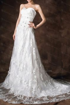 US $388.00 | Satin Strapless Chapel Train Ball Gown Wedding Dress with Crystal