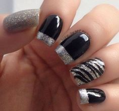 Nails art in black and grey glitter,plus ring finger nail zebra striped