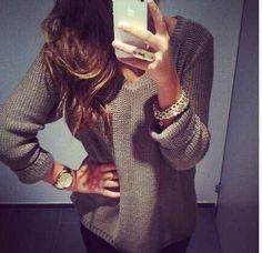 Adorbs V Neck Long Sleeve Pullover Knit Sweater - Khaki