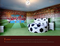 Marvelous Design Football Wall Murals Grand Football Wallpaper regarding sizing 1000 X 1000 Football Wall Mural Wallpaper - A mural sets a child's bedroom Boys Football Bedroom, Soccer Bedroom, Football Rooms, Football Nursery, Football Decor, Sports Decor, Football Field, Bedroom Themes, Bedroom Styles